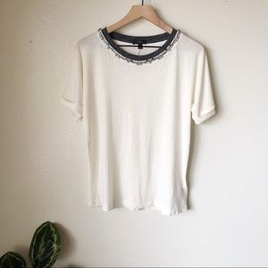 J. Crew | Jeweled Roll-Sleeve Tee